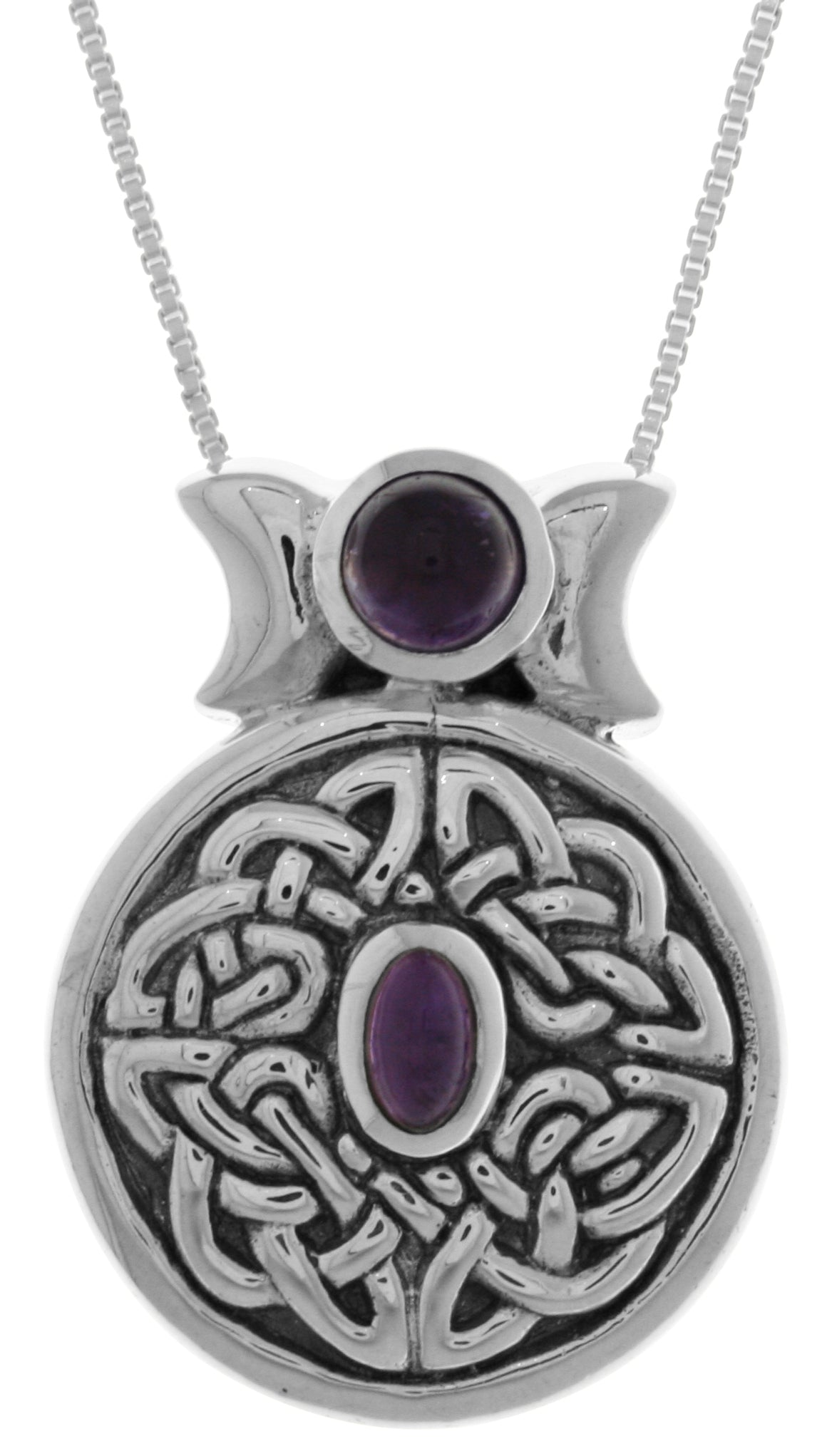 Jewelry trends sterling silver round celtic moon goddess pendant jewelry trends sterling silver round celtic moon goddess pendant with purple amethyst on 18 inch box chain necklace aloadofball Choice Image