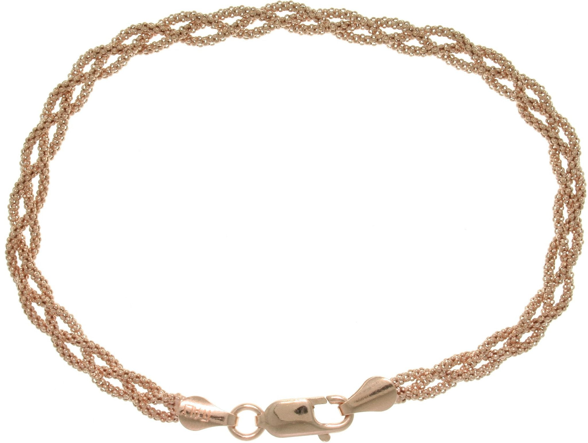 Jewelry Trends Rose Gold-plated Sterling Silver Braided Popcorn Style Bracelet