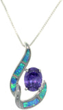 "Jewelry Trends Sterling Silver Created Blue Opal Night Dreams Pendant with Purple CZ on 18"" Box Chain Necklace"