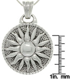 Jewelry Trends Sterling Silver Round Sunburst Pendant with 18 Inch Box Chain Necklace