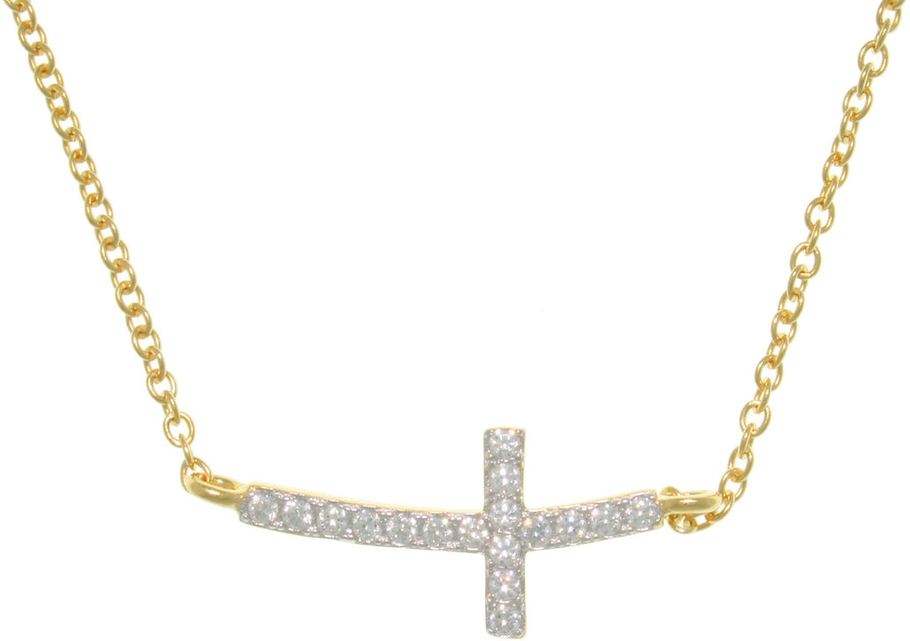 Jewelry Trends Sterling Silver and Gold Vermeil Bar Design Cross Pendant with Pave CZ Crystals on Gold Vermeil Necklace