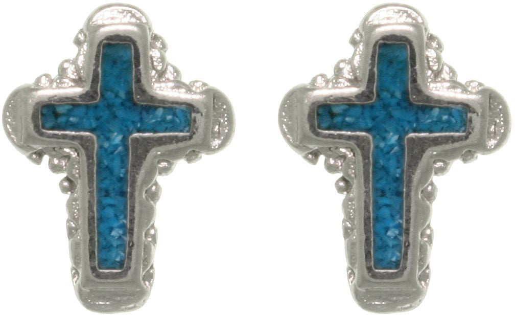 Jewelry Trends Pewter Created Turquoise Cross Silver Plated Stud Post Earrings