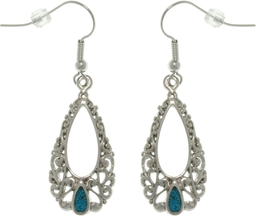 Jewelry Trends Pewter Filigree Teardrop Dangle Earrings with Created Turquoise