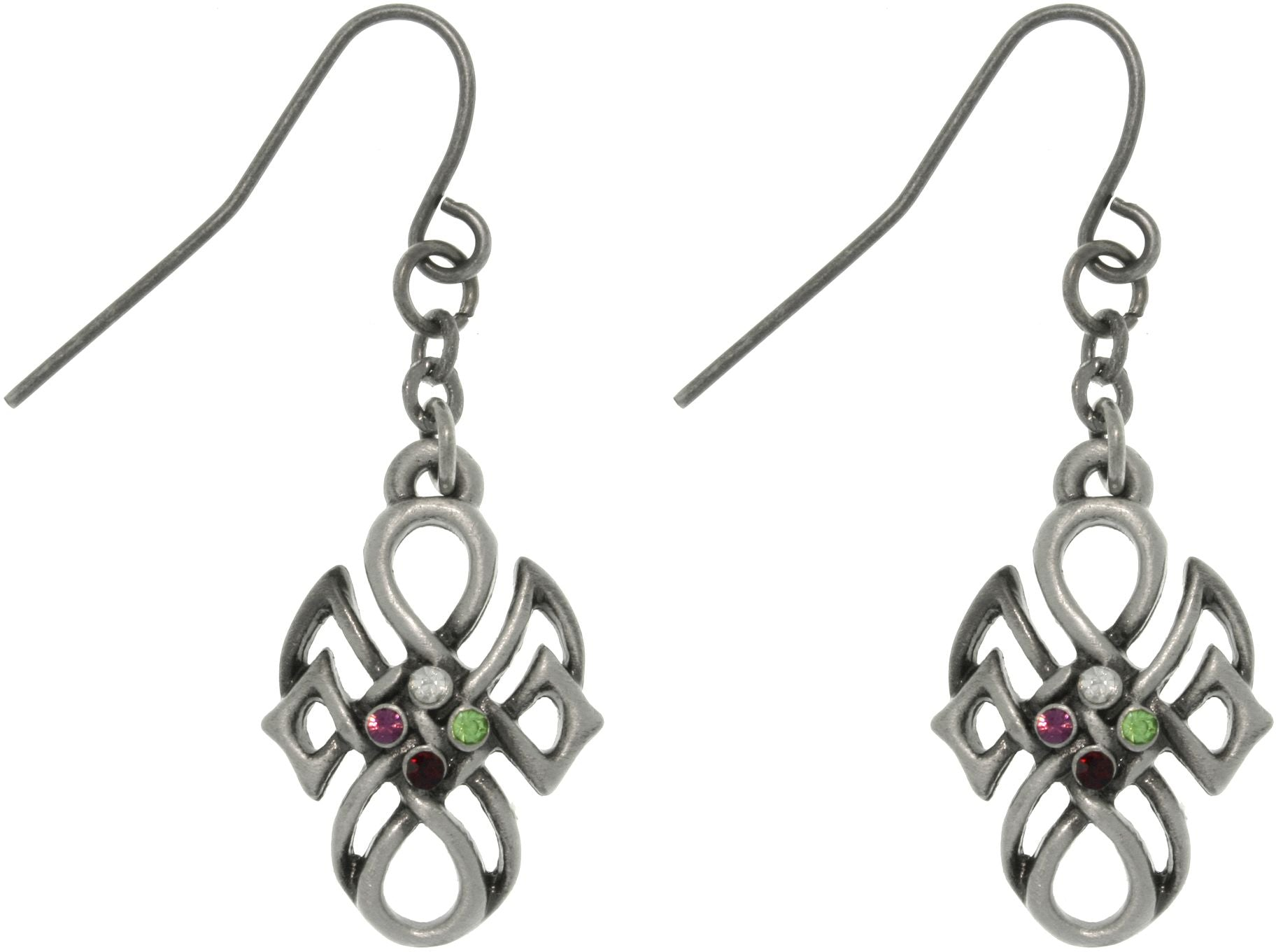 Jewelry Trends Pewter Rhinestone Tribal Knot Earrings