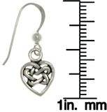 Jewelry Trends Sterling Silver Small Celtic Love Heart Dangle Earrings