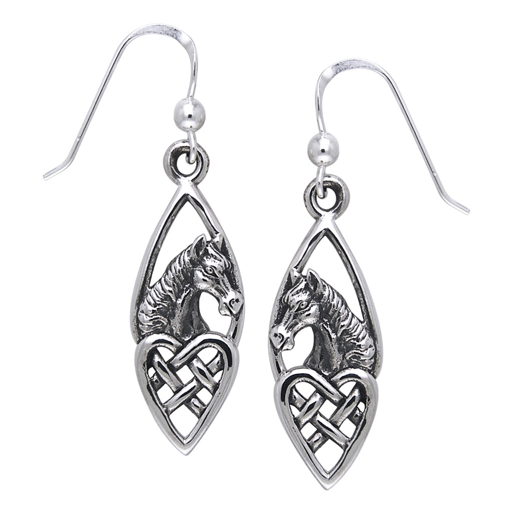 Jewelry Trends Sterling Silver Horse with Celtic Heart Dangle Earrings