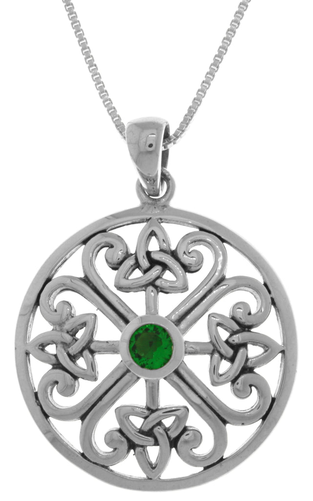 Jewelry Trends Sterling Silver Celtic Trinity Knot Medallion Pendant with Green Glass on 18 Inch Box Chain Necklace