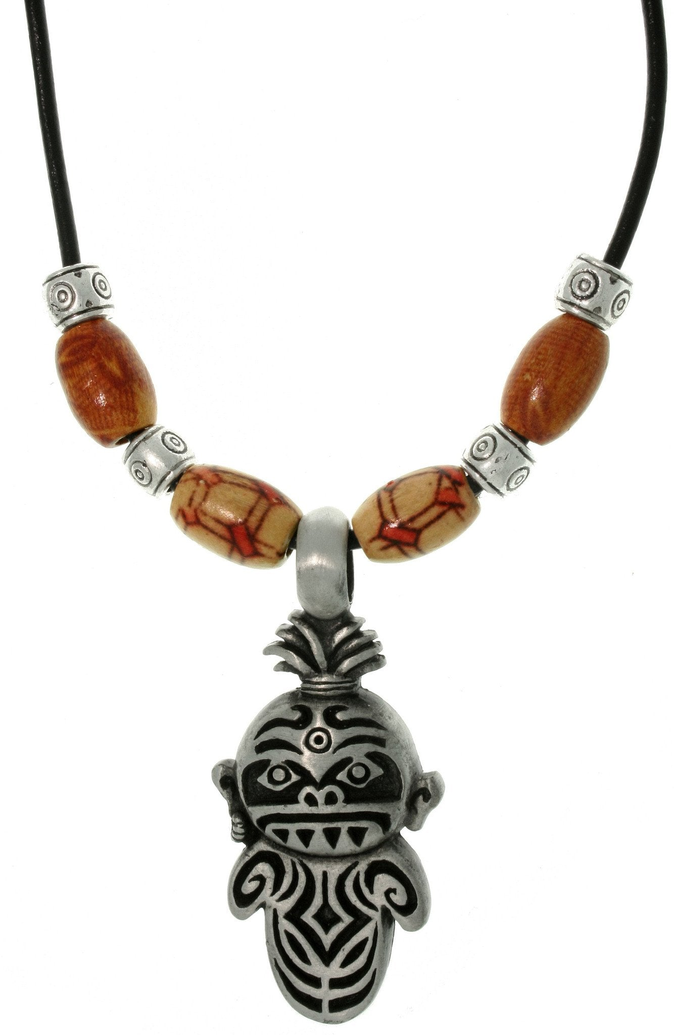 Jewelry Trends Pewter Unisex Tiki Medicine Man and Wooden Bead Necklace