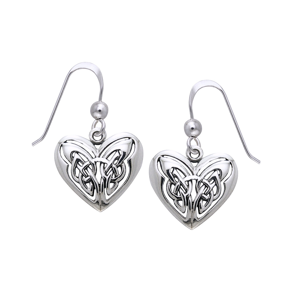 Jewelry Trends Sterling Silver Celtic Eternal Love Heart Knot Work Dangle Earrings