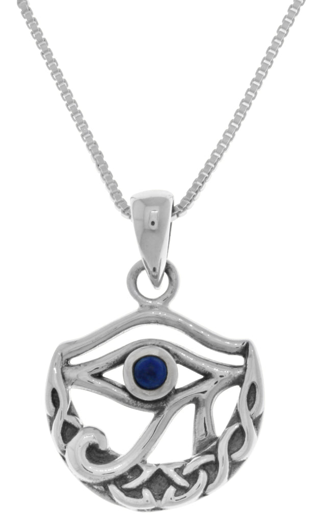Jewelry Trends Sterling Silver Celtic Crescent Moon Eye of Horus Pendant with Synthetic Lapis on 18 Inch Necklace