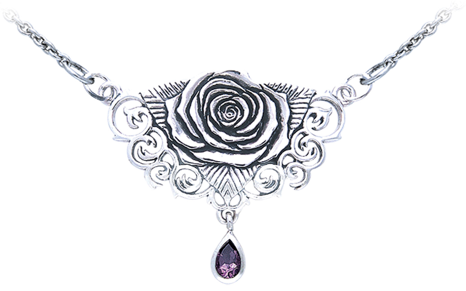 Jewelry trends sterling silver sacred rose celtic pendant necklace jewelry trends sterling silver sacred rose celtic pendant necklace with amethyst drop by brigid ashwood aloadofball Choice Image