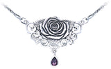 Jewelry Trends Sterling Silver Sacred Rose Celtic Pendant Necklace with Amethyst Drop By Brigid Ashwood