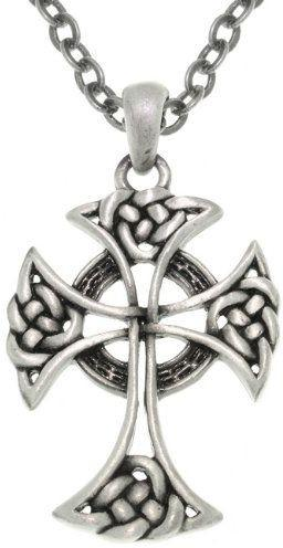 Jewelry Trends Pewter Unisex Celtic Cross Pendant with 24 Inch Chain Necklace