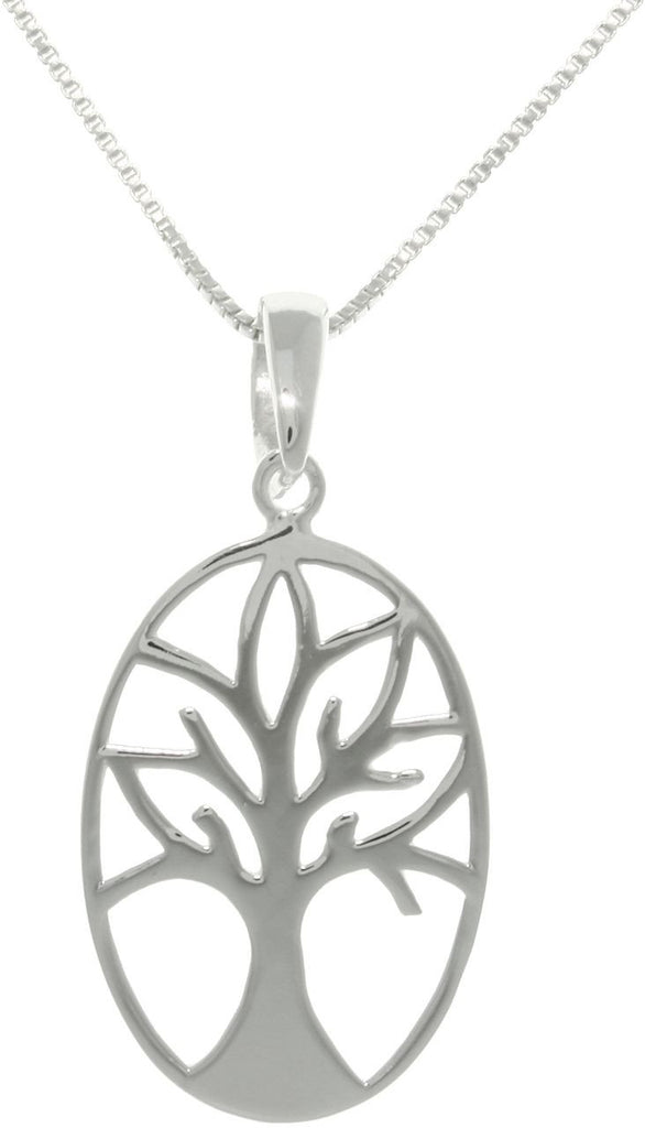 Jewelry Trends Sterling Silver Oval Tree of Life and Love Pendant on 18 Inch Box Chain Necklace