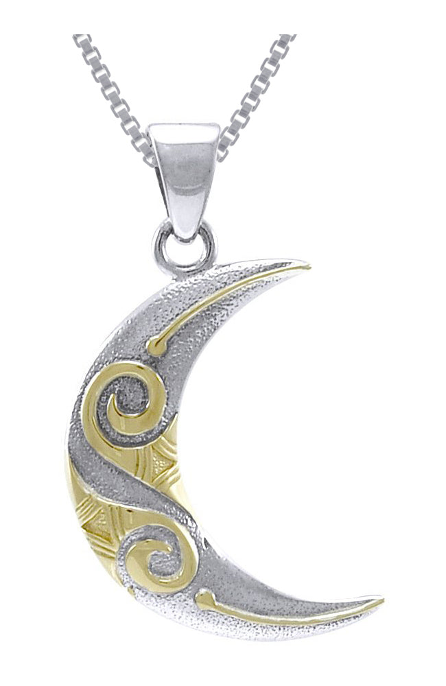 Jewelry Trends Sterling Silver and Gold-plated Celtic Spiral Crescent Moon Pendant on 18 Inch Box Chain Necklace