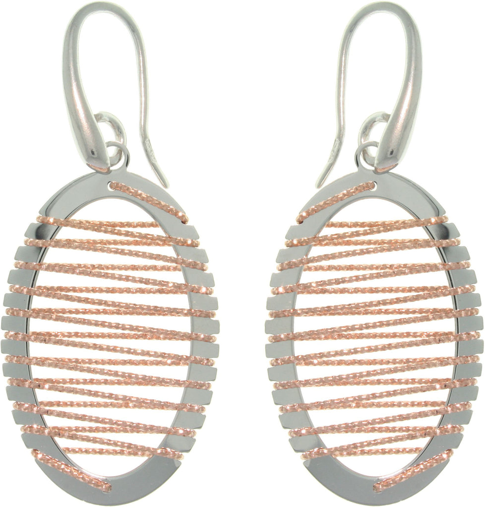 Jewelry Trends Sterling Silver & Rose Gold Oval Earrings with Wrapped Twisted Rope Design