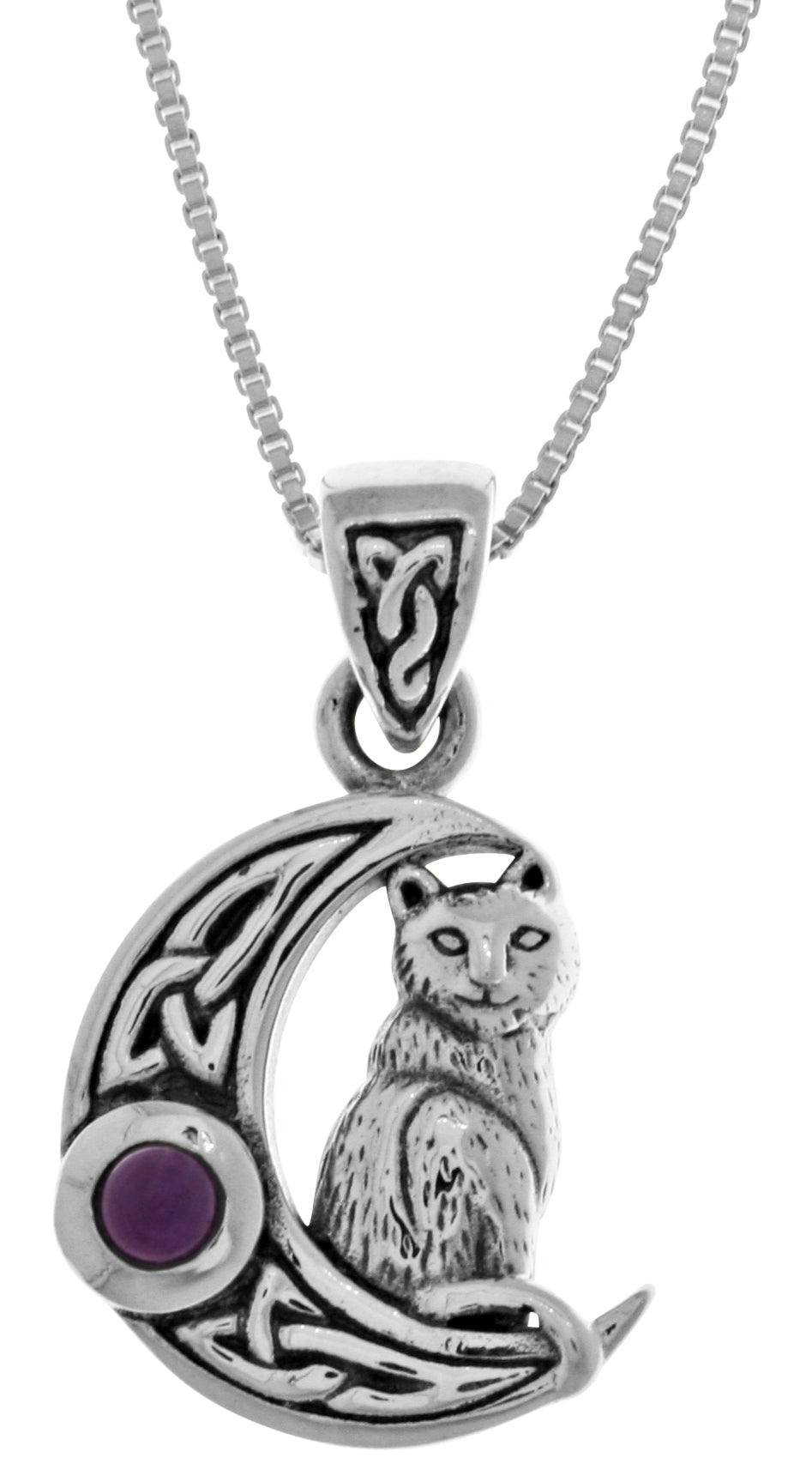 Jewelry Trends Sterling Silver Dragon with Celtic Crescent Moon Pendant Necklace 18