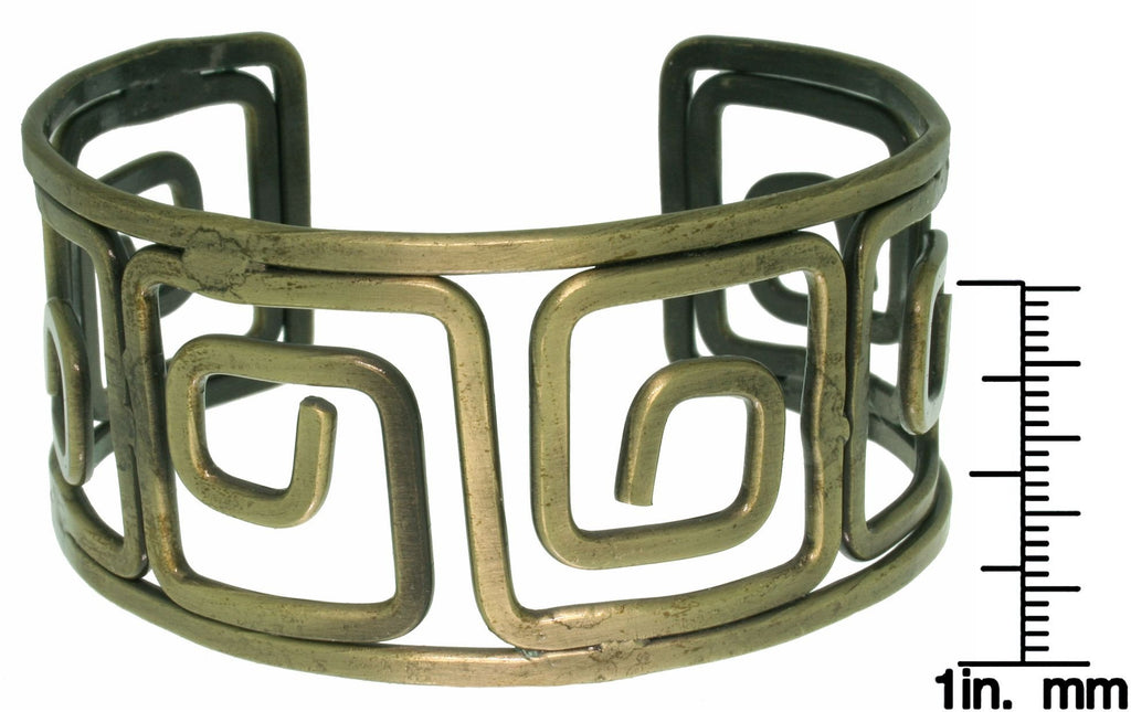 Jewelry Trends Steel Brasstone Open Greek Key Cuff Bracelet