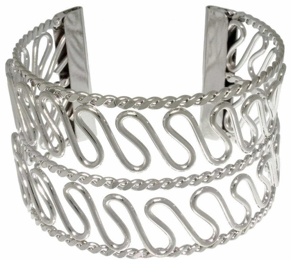 Jewelry Trends Stainless Steel Double Wave Design Cuff Bracelet