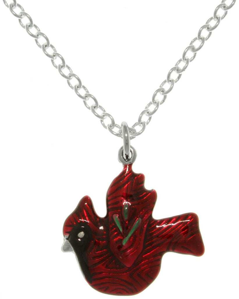 "Jewelry Trends Enameled Pewter Red Cardinal Bird Charm with 18"" Necklace Chain"