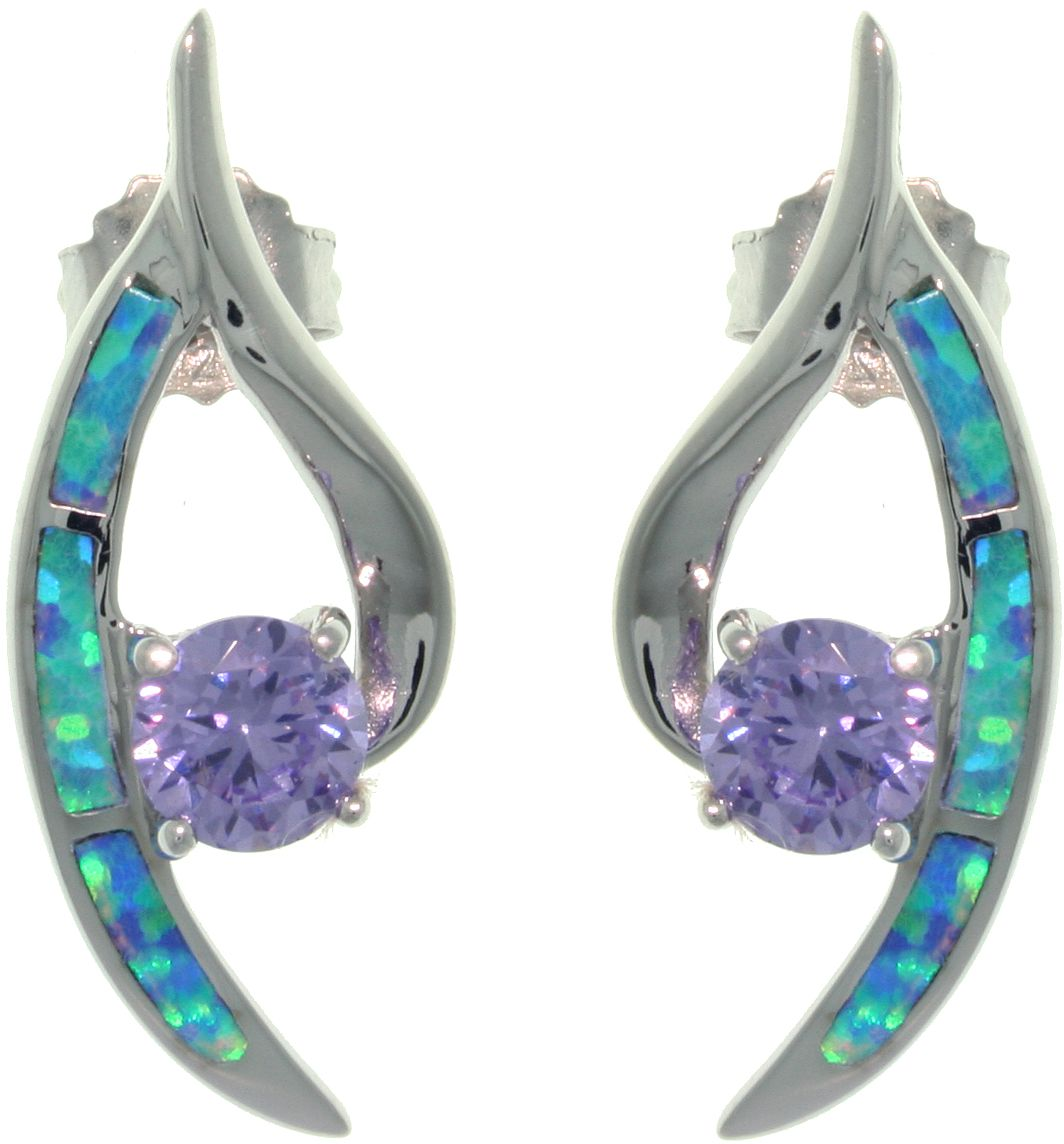 Jewelry Trends Sterling Silver Created Opal Crescent Post Earrings with Round Amethyst Purple CZ Stones