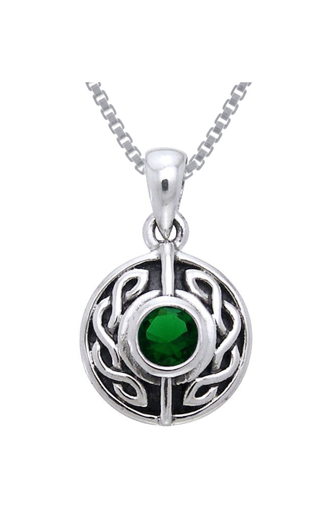 Jewelry Trends Sterling Silver with Green Glass Celtic Knot Pendant on 18 Inch Box Chain Necklace