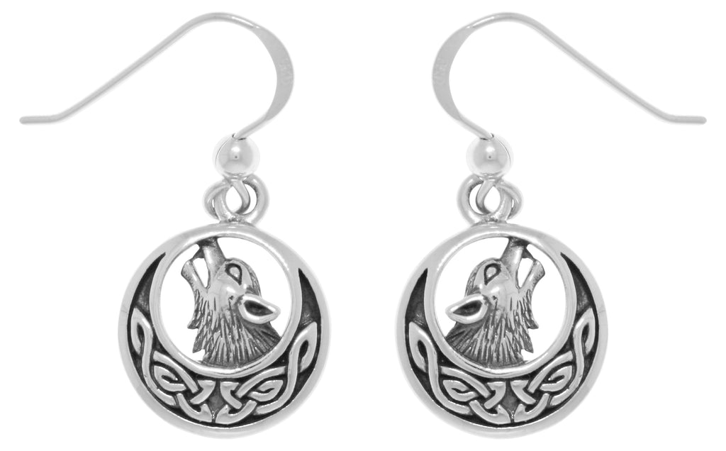Jewelry Trends Sterling Silver Howling Wolf Celtic Moon Dangle Earrings