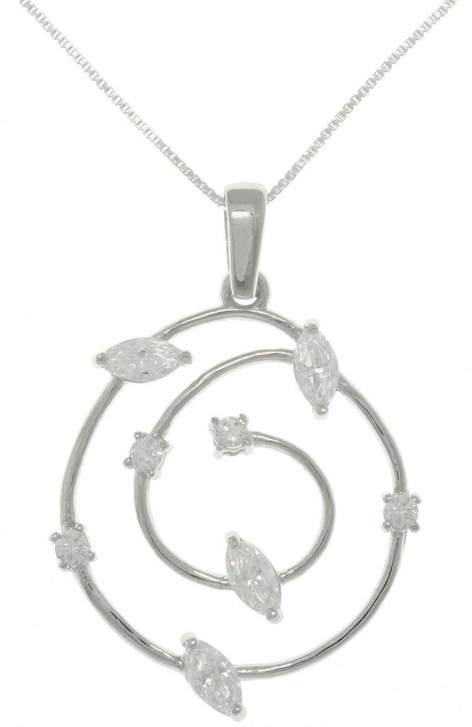 Jewelry Trends Sterling Silver CZ Round Swirl Cosmos Pendant on 18 inch Box Chain Necklace