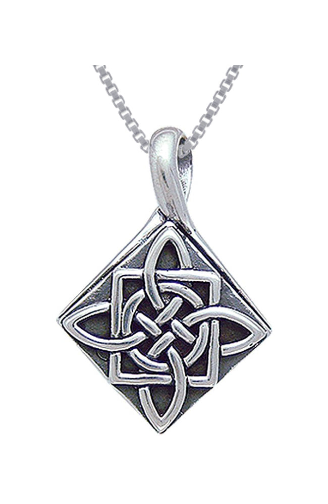 Jewelry Trends Sterling Silver Celtic Four Point Quaternary Knot Pendant on 18 Inch Box Chain Necklace