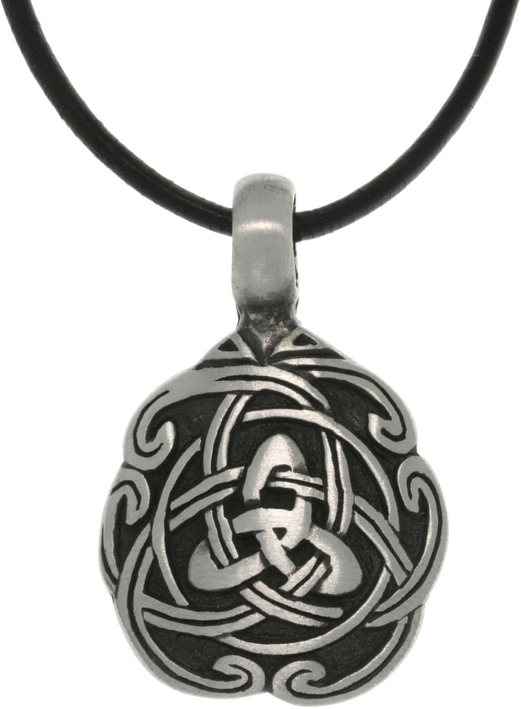Jewelry Trends Pewter Celtic Trinity Knot Unity Pendant on 18 Inch Black Leather Cord Necklace Fathers Day Gift
