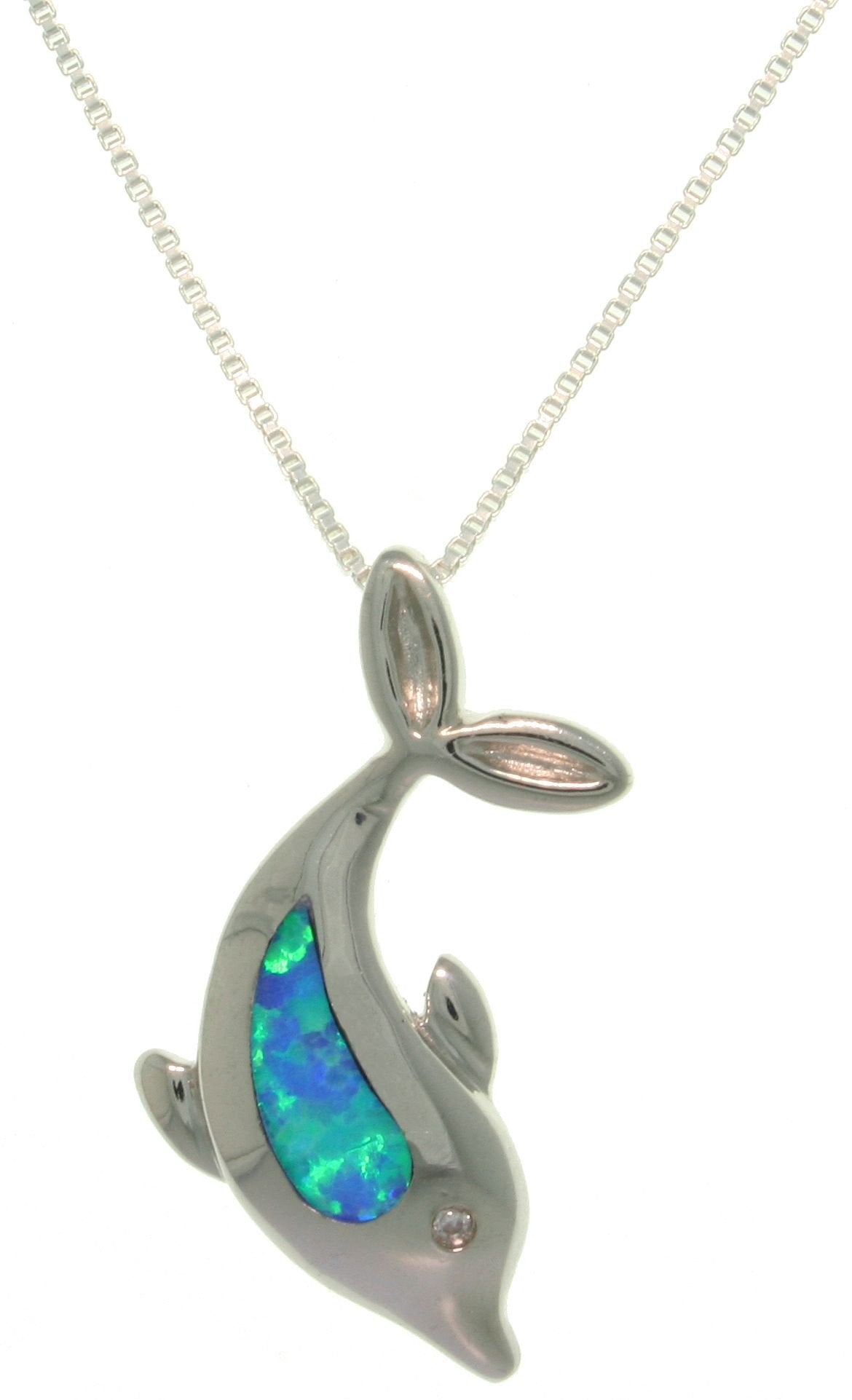 Jewelry Trends Sterling Silver Created Blue Opal and Clear CZ Crystal Sea Dolphin Pendant with 18 Inch Box Chain Necklace