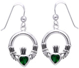 Jewelry Trends Sterling Silver Celtic Claddagh Heart Crown Dark Green Glass Dangle Earrings