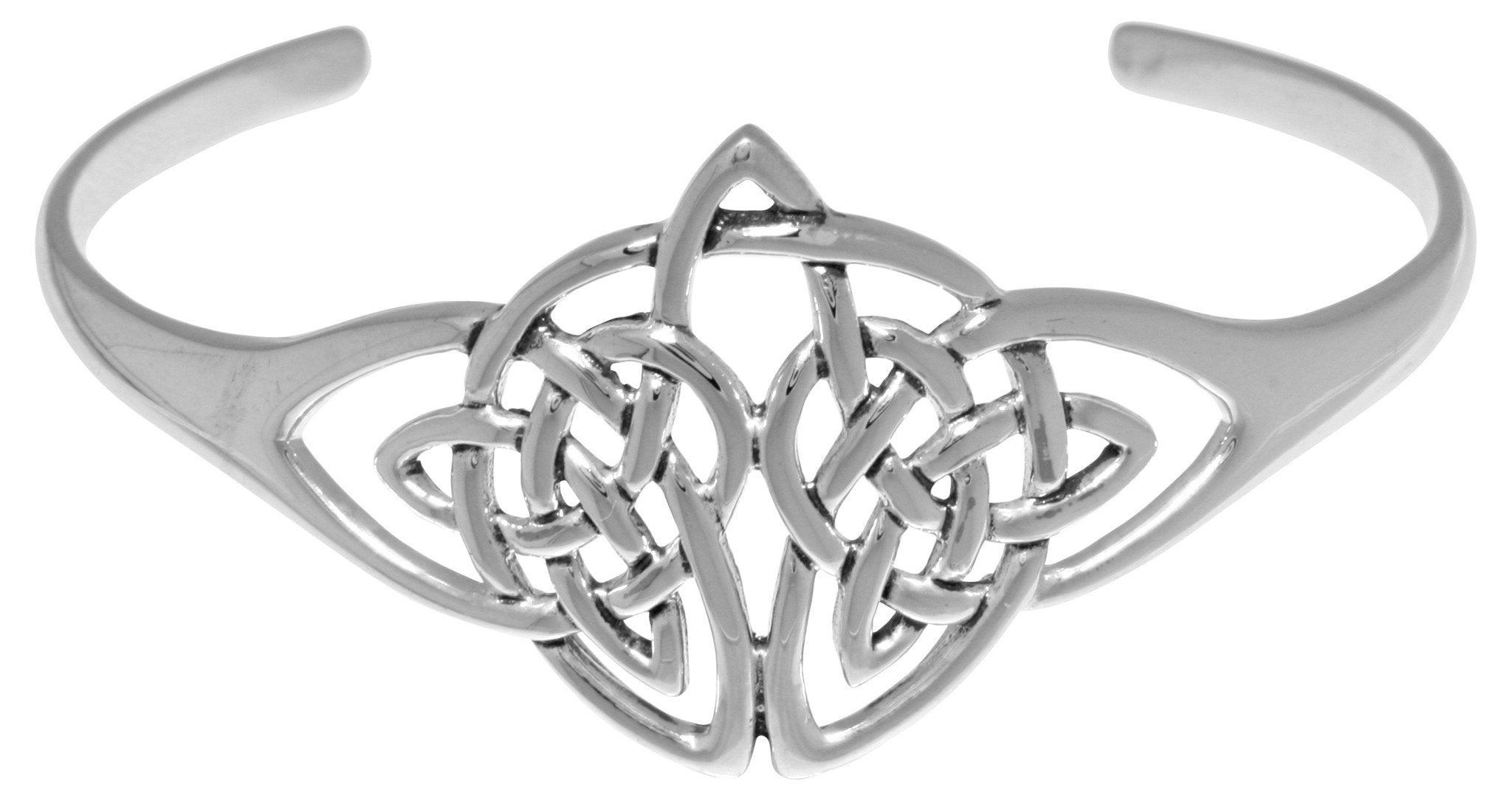 Jewelry Trends Silver Plated Bronze Double Celtic Trinity Knot Bangle Bracelet