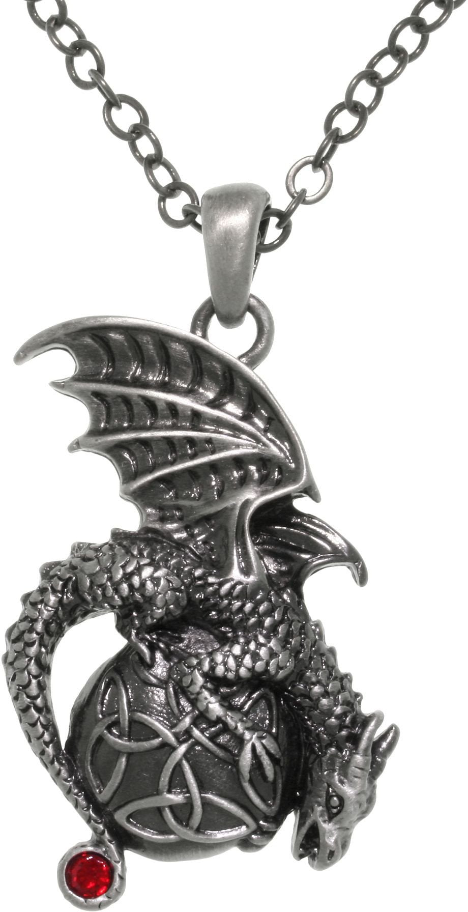 Jewelry Trends Pewter Dragon with Celtic Trinity Knot Orb Pendant on 24 Inch Chain Necklace