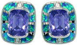 Jewelry Trends Sterling Silver Created Blue Opal Geometric Leverback Earrings with Clear and Amethyst Purple CZ Stones