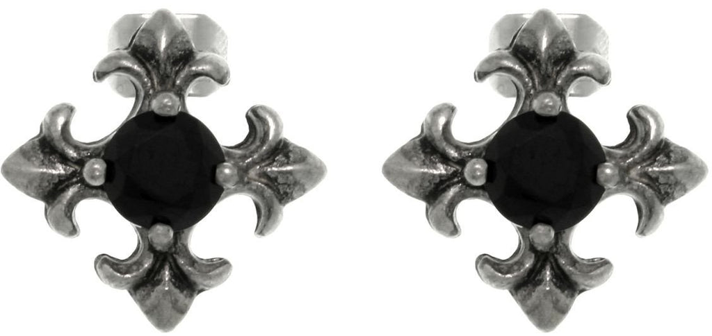 Jewelry Trends Pewter Fleur De Lis Cross with Jet Black Crystal Stud Post Earrings One Pair
