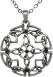 Jewelry Trends Pewter Celtic Circle of Life Medallion Green Crystal Pendant on 24 Inch Chain Necklace
