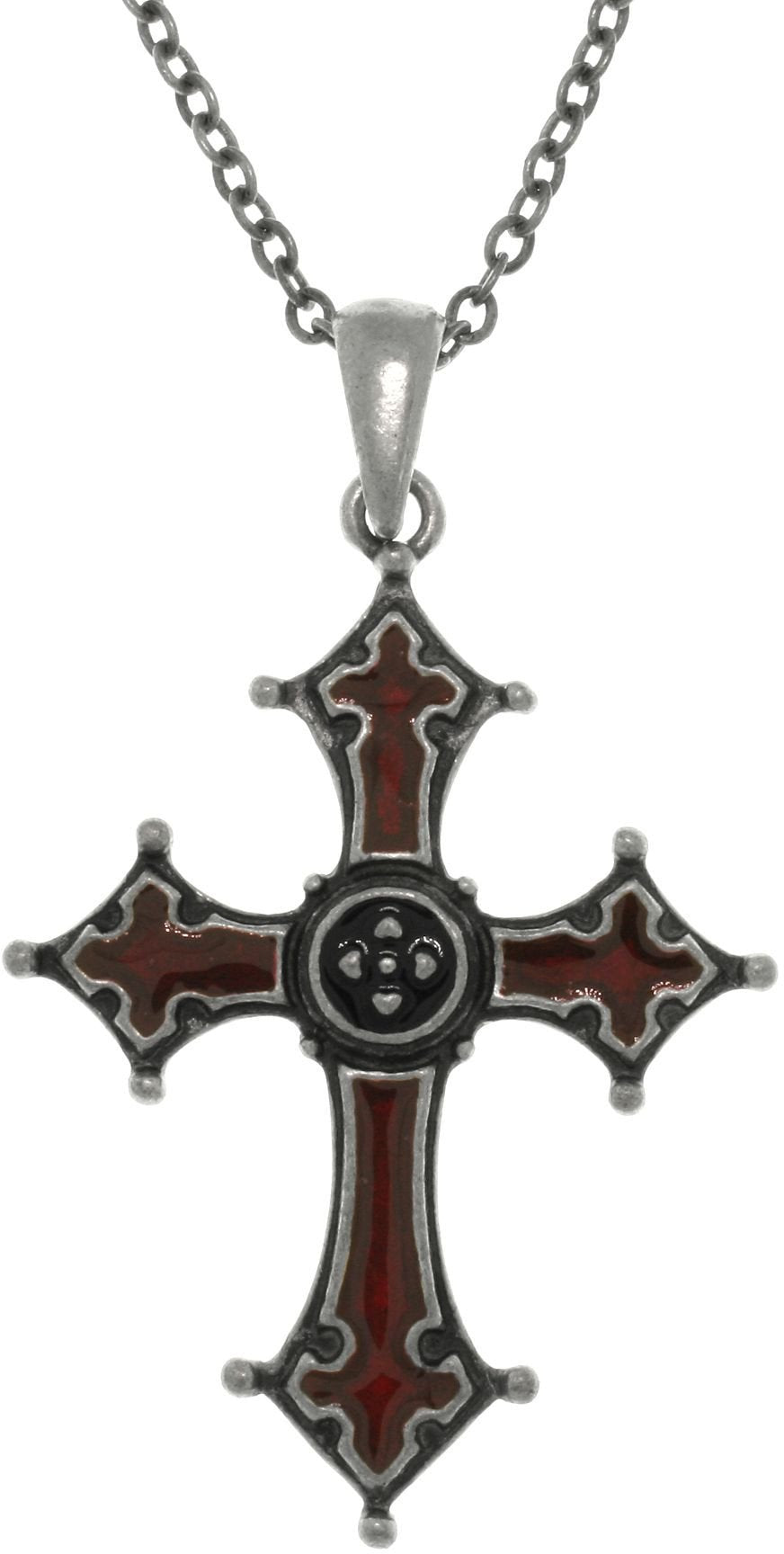 Jewelry Trends Pewter Gothic Byzantine Cross Pendant with Red Enamel on Chain Necklace