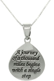 Jewelry Trends Sterling Silver Inspirational Journey Message Pendant with 18 Inch Box Chain Necklace Graduation Gift