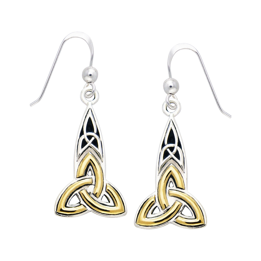 Jewelry Trends Sterling Silver and Gold Plated Celtic Trinity Knot Dangle Earrings Clearance