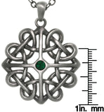 Jewelry Trends Pewter Celtic Heart Knot Pendant with Green Crystal on 24 Inch Chain Necklace