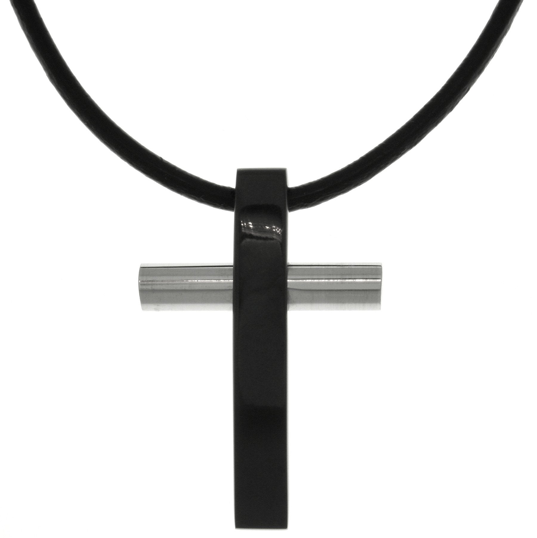 Jewelry Trends Stainless Steel Two Tone Black and Silver Cross Pendant on Black Leather Cord Necklace