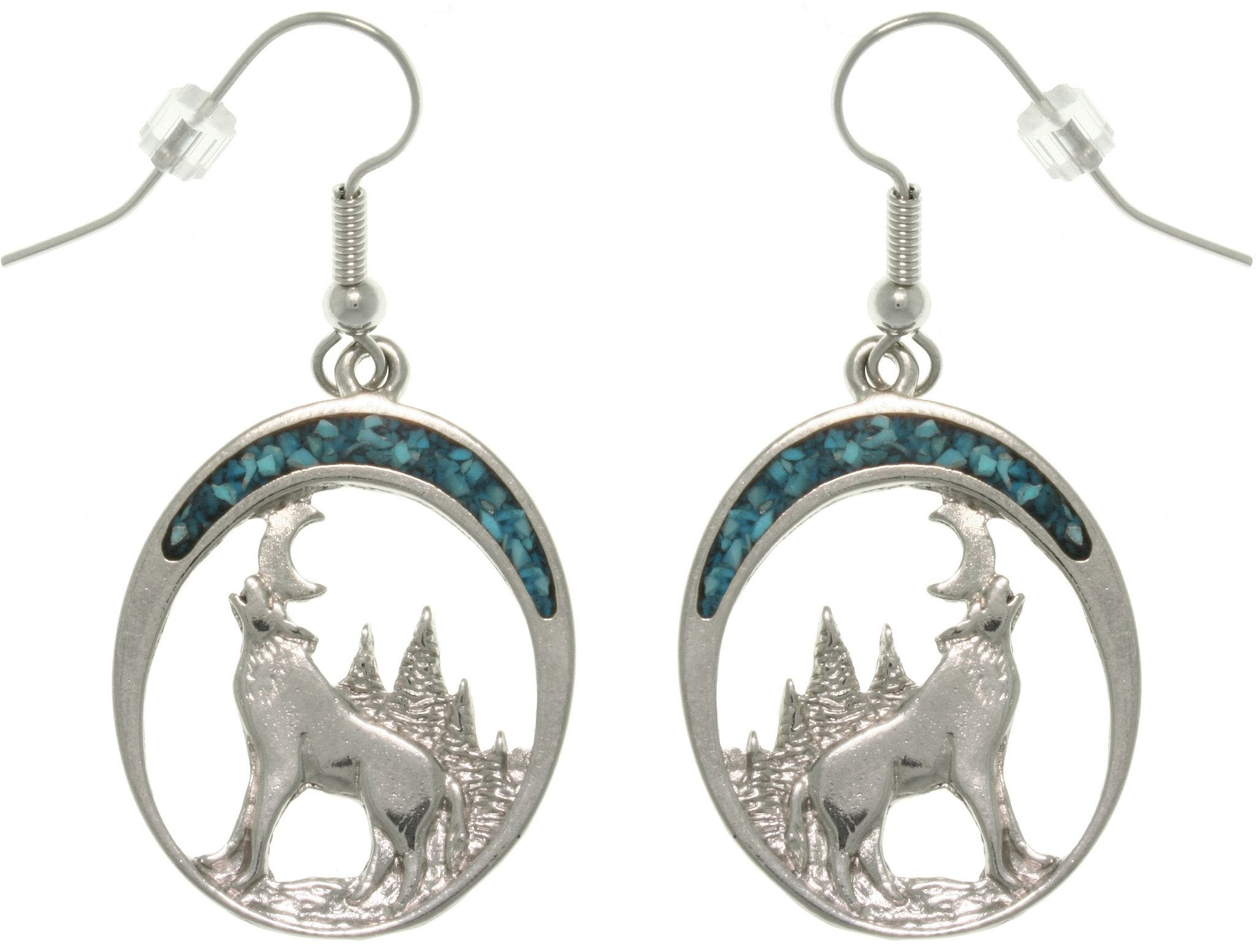 Jewelry Trends Pewter Howling Wolf Dangle Earrings with Created Turquoise