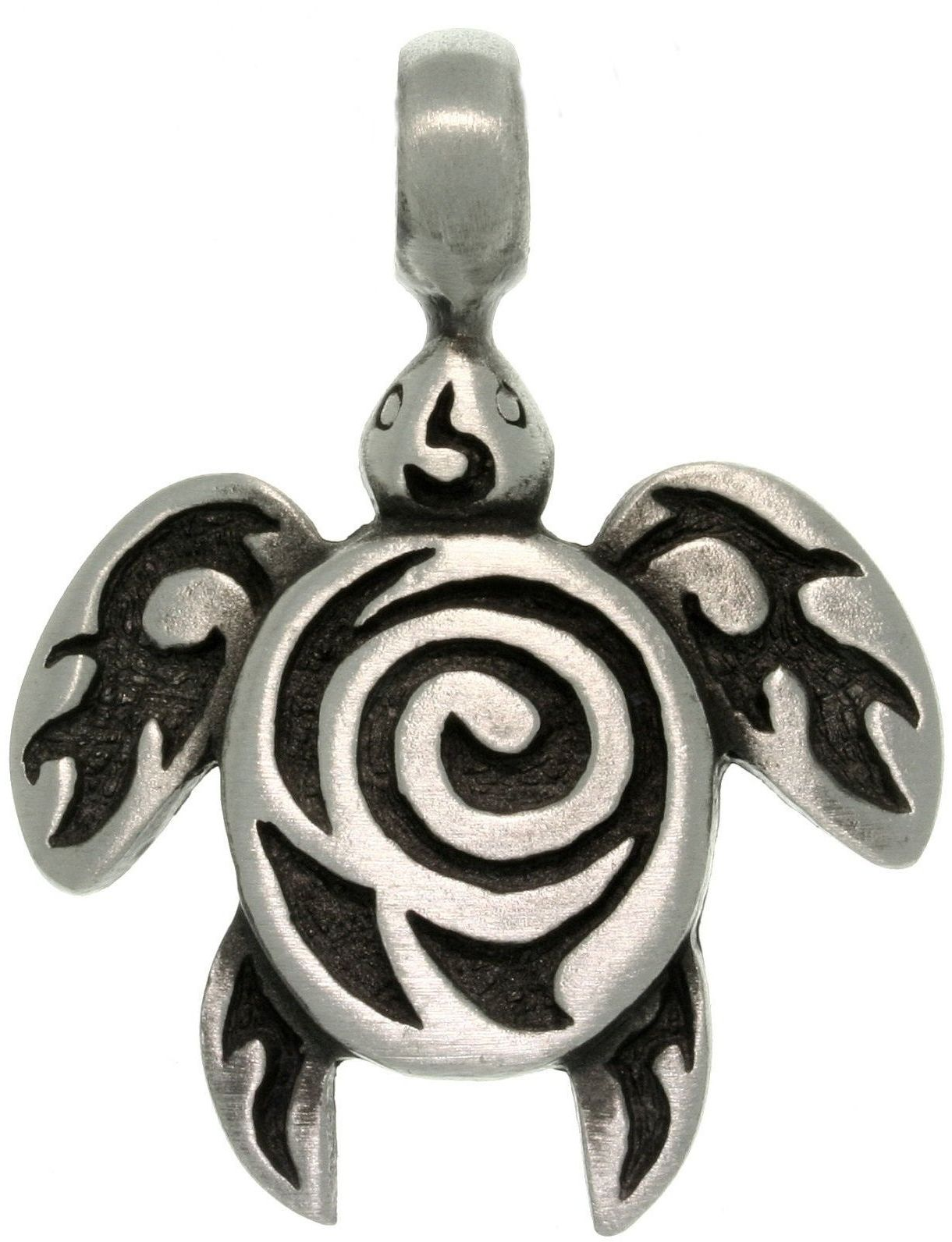 Jewelry Trends Pewter Sea Turtle with Tribal Spiral Unisex Pendant