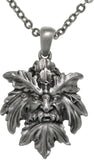 Jewelry Trends Pewter Mystical Green Man Leaf Face Pendant on 24 inch Chain Necklace - Nature Greenman