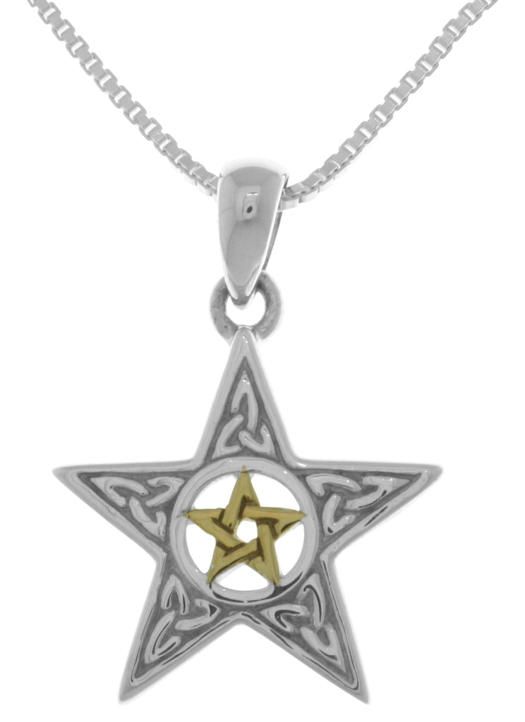 Jewelry Trends Sterling Silver Celtic Trinity Star and 14k Gold-Plated Pentacle Pendant on 18 Inch Box Chain Necklace