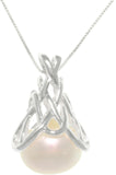 Jewelry Trends Sterling Silver Celtic Knot Pendant with Cultured Freshwater Pearl on 18 Inch Box Chain Necklace