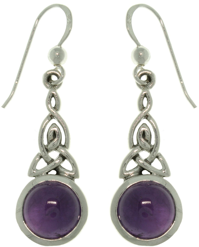 Jewelry Trends Sterling Silver Celtic Triquetra Knot Dangle Earrings with Genuine Amethyst Purple Stones