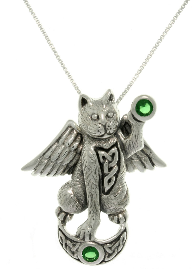 Jewelry Trends Sterling Silver Angel Celtic Cat Pendant with Green Crystals on Box Chain Necklace