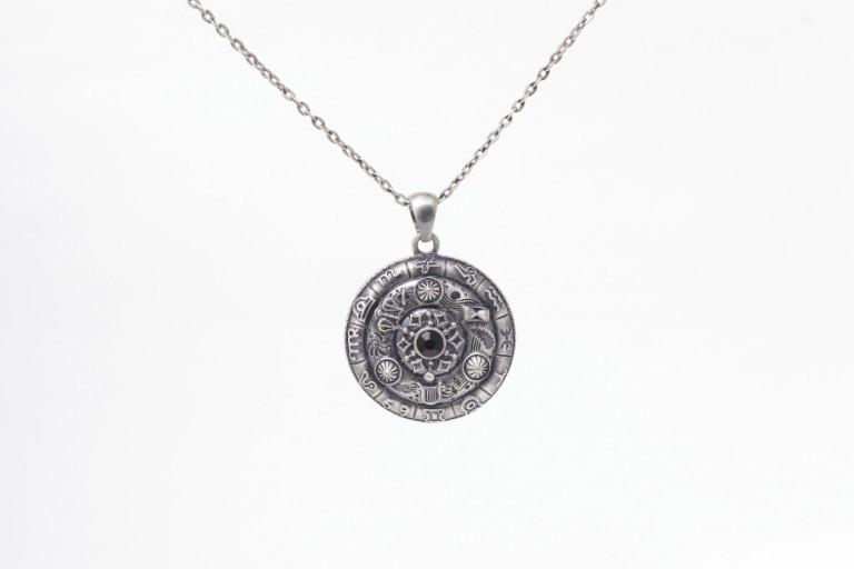Jewelry Trends Pewter Zodiac Astrology Wheel Celestones Pendant on 24 Inch Chain Necklace
